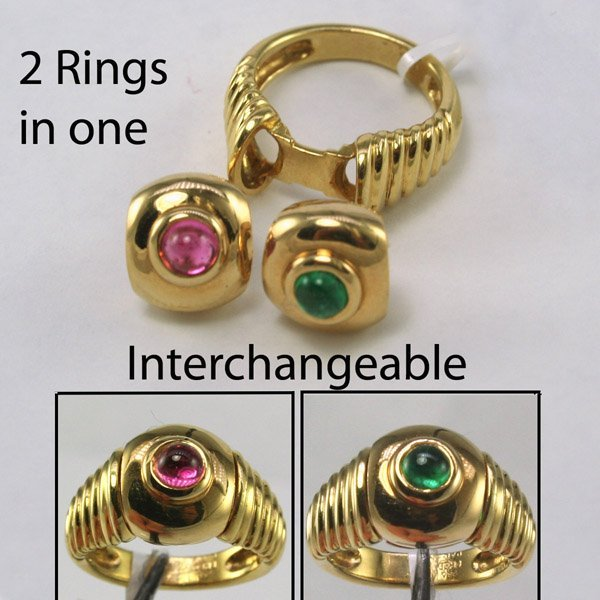 1653: Fred Paris Interchangeable Tourmaline & Emerald R
