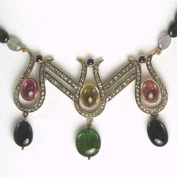 1723: Diamond & Tourmaline Necklace 81.40 Carats!