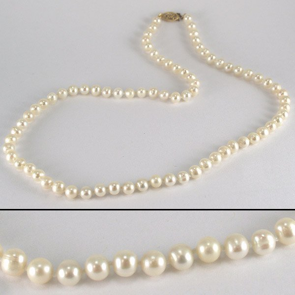 4010: 10KT Fresh Water 5mm Pearl Necklace 18in