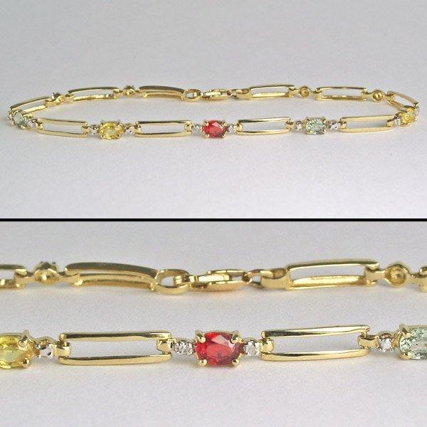 1002: 14KT 0.01tcw Diam & Multi-Sapphire Bracelet 7 in