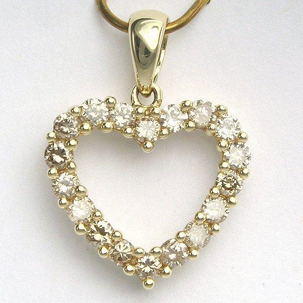 1018: 14KT Half Carat Diamond Heart Pendant 18mm