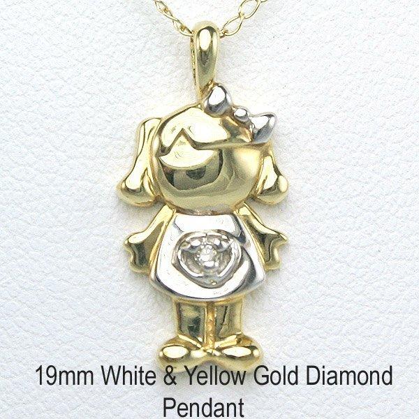 "1019: 10KT Adorable Diamond ""Girl"" Pendant 19mm"