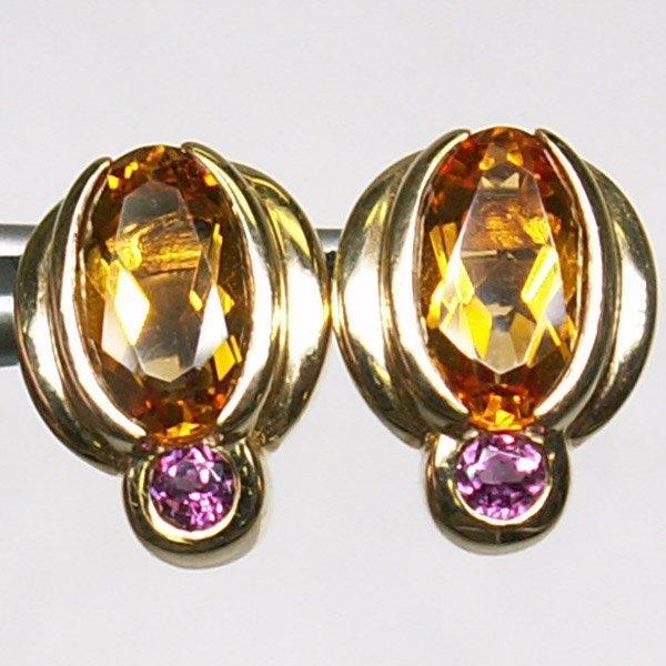 2110: 14KT. Citrine & Pink Topaz Earrings - Yellow Gold