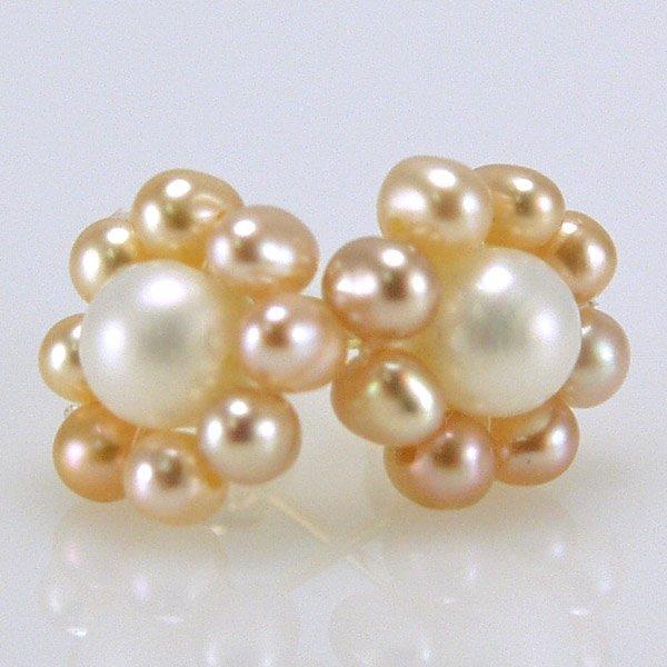 3017: 14KT Creamrose & Rosaline FWP Earrings 10mm