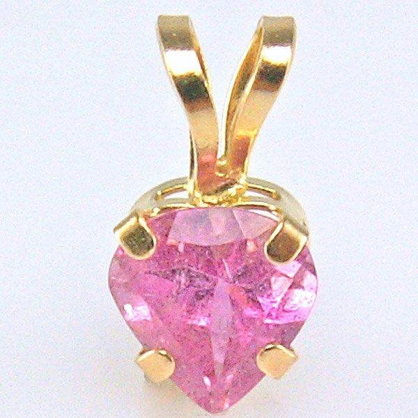 3015: 10KT Pink Tourmaline Heart Pendant 9mm