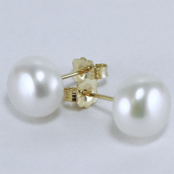 5007: 14KT 8.5mm Button Pearl Earrings