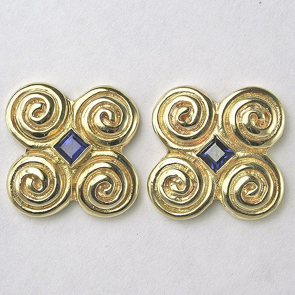 5030: 14KT 0.26TCW Sapphire Swirl Earrings, 18mm