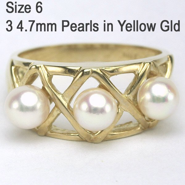 5247: 10KT Three Pearl 4.7mm Ring Sz 6