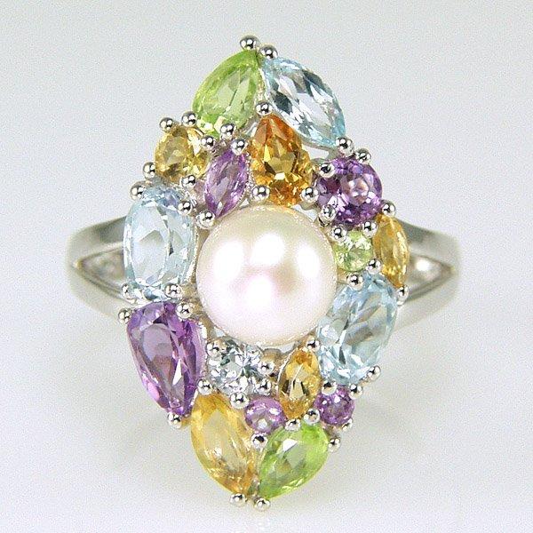 1008: SS Multi Gem Stone FW Pearl Ring Sz 7.25