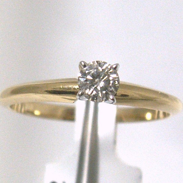 1020: 14KT Diamond Solitaire Ring 0.25 CT Sz 7