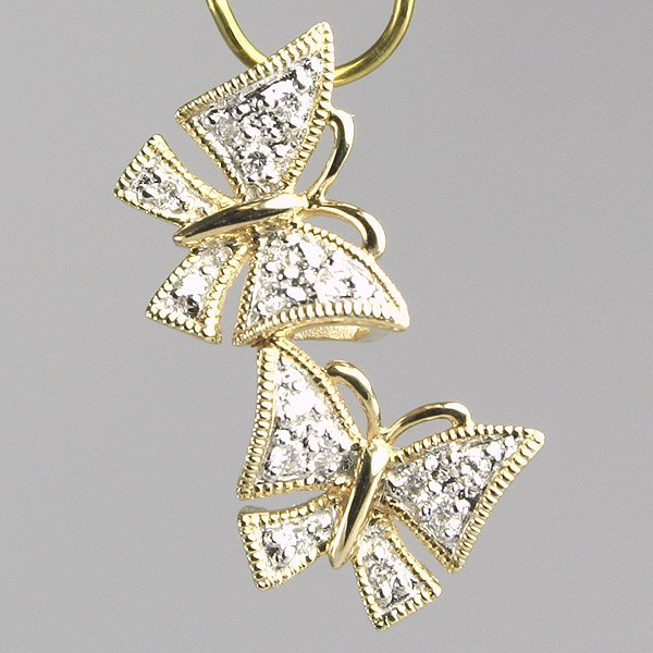 3018: 14KT Diamond Butterfly Pendant 0.13TCW