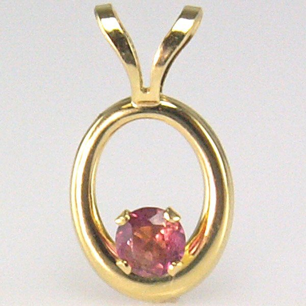 3004: 14KT 3mm Dark Pink Tourmaline Pendant 13mm