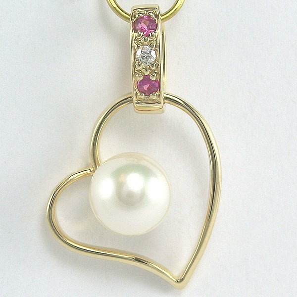1009: 14KT Diam Pearl Pink Sapphire Heart Pendant 24mm