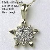 1128: 10KT 0.11tcw Diamond Star Pendant 10mm