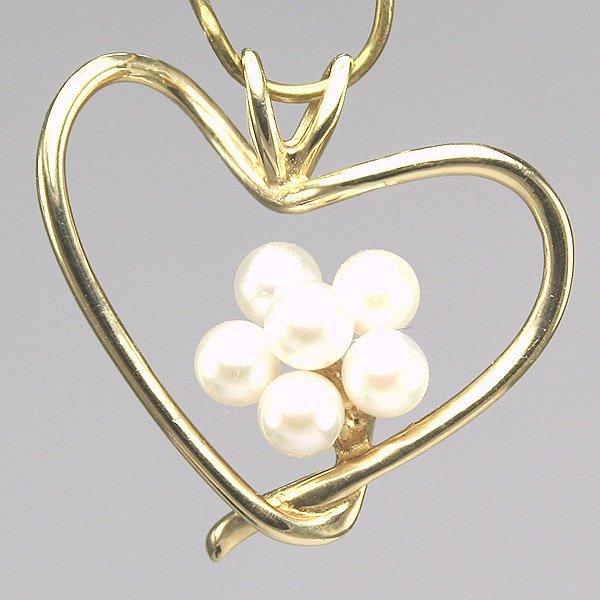 3022: 14KT Pearl Flower Heart Pendant, 20MM length