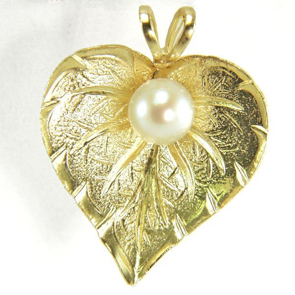 11010: 14KT 5mm Pearl Heart-Leaf Pendant 16x15mm