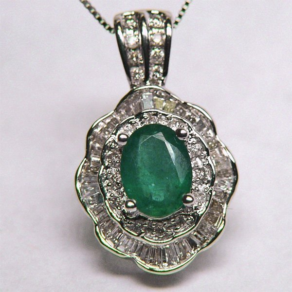 11024: 14KT Emerald Diamond Pendant with Chain 1.70 TCW
