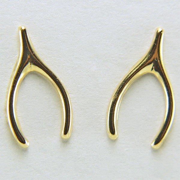 22005: 14KT Wishbone Stud Earrings 11x6mm