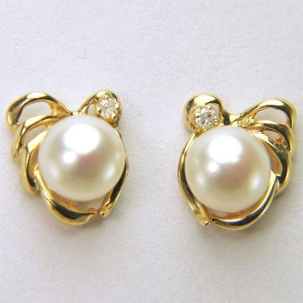 22012: 14KT 5.5mm Pearl & Dia Stud Earrings 0.02cts 9x8