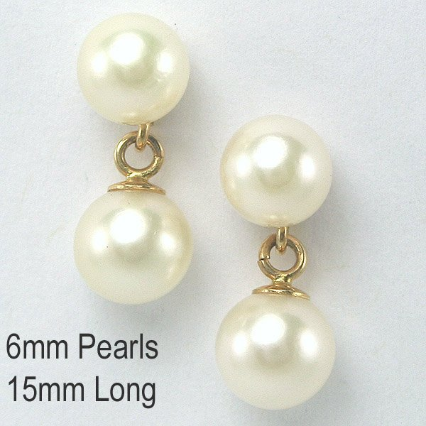 22019: 14KT  6mm Pearl Drop Earrings 15mm