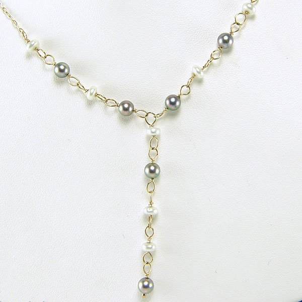 """42011: 14KT Wht & Blk Pearl """"Y"""" Necklace 22in"""
