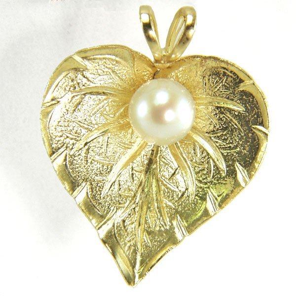 51010: 14KT 5mm Pearl Heart-Leaf Pendant 16x15mm