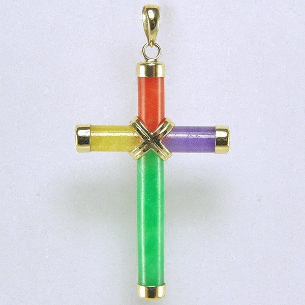 51014: 14KT Multi-Colored Jade Cross Pendant 37x22mm