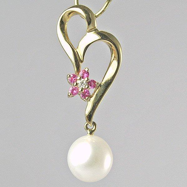 12008: 14KT Pearl, Pink Sapphire Flower Pendant, 25mm