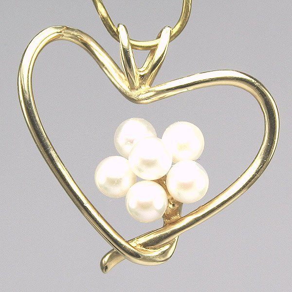 12022: 14KT Pearl Flower Heart Pendant, 20MM length