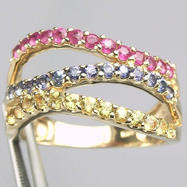 12029: 14KT Ylw & Bl Sapphire Ruby Ring Sz 6.5
