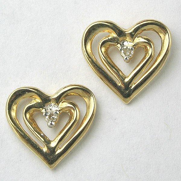 12032: 10KT Heart Shaped Diamond Earrings 0.04tcw