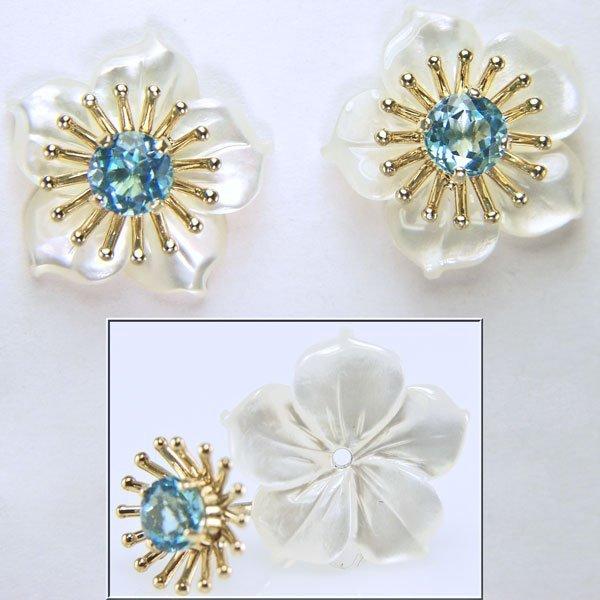 12033: 10KT Blue Topaz & MOP Flower Stud Earrings 15x15