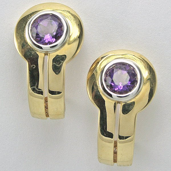 32020: 14KTTwo Tone 6mm 0.78TCW Amethyst Earrings