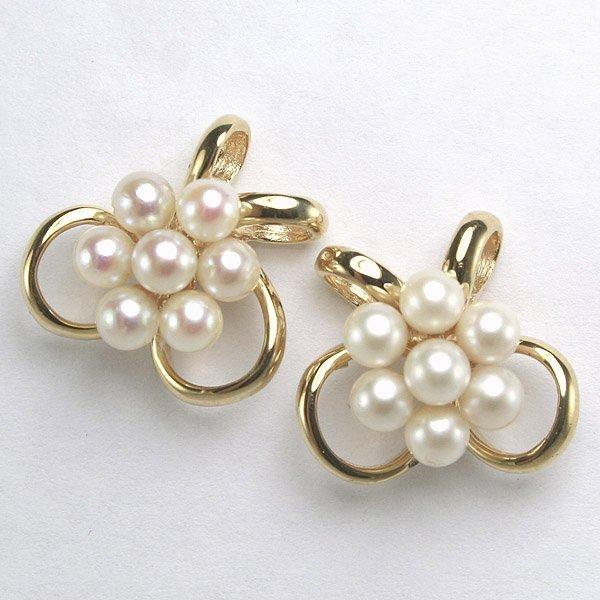 52206: 14KT Cluster Pearl Earrings