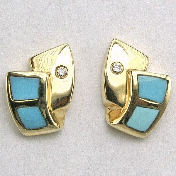 22134: 14KT Diamond Turquoise Inlay Earrings 0.01CT 9MM