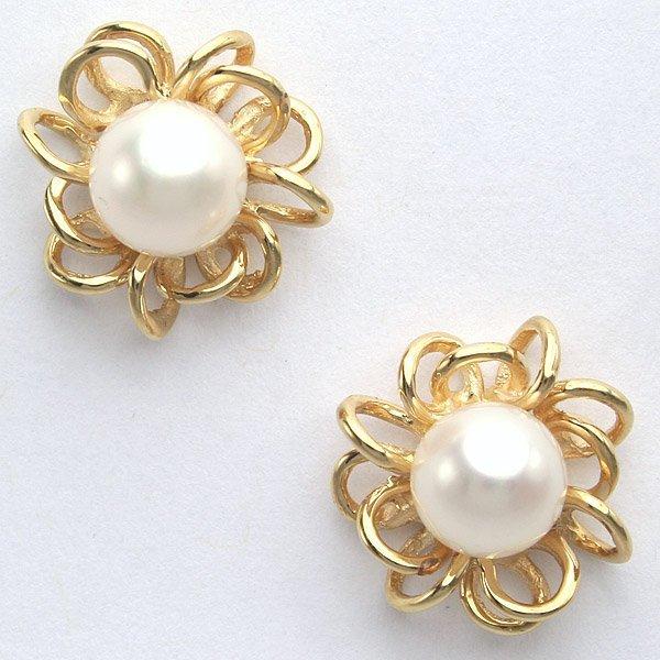 12034: 14KT 6.5mm Pearl Earrings 14mm Diameter