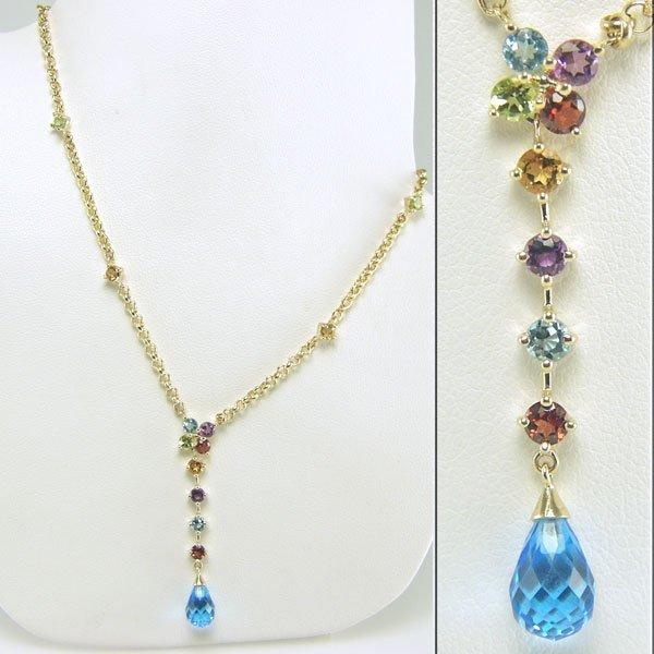 12003: 10KT Multi-Gemstone Dangle Necklace 18in