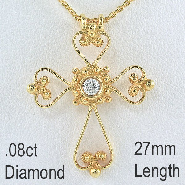 21015: 18KT Diam Antique Design Cross Pendant 27mm