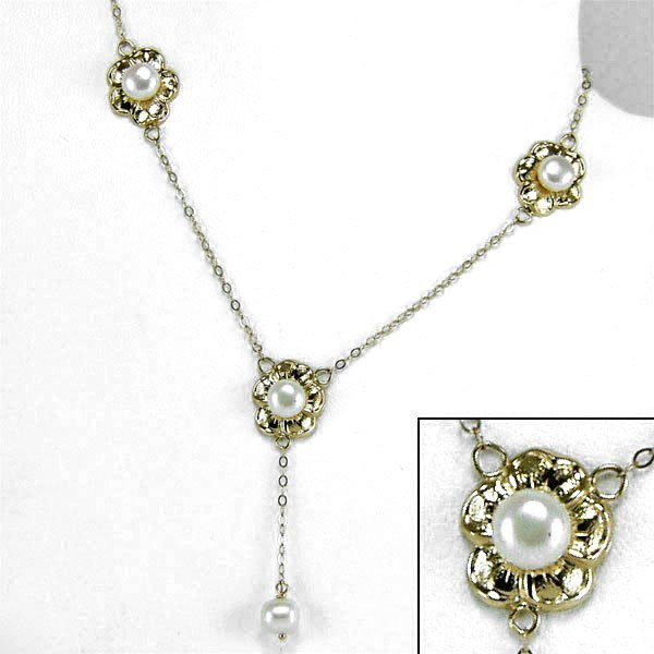 21266: 14KT 6mm Pearl Flower Necklace 20in