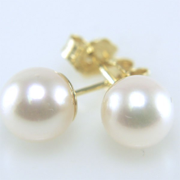 21007: 14KT 6mm Pearl Stud Earrings
