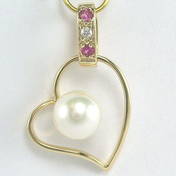 32009: 14KT Diam Pearl Pink Sapphire Heart Pendant 24mm