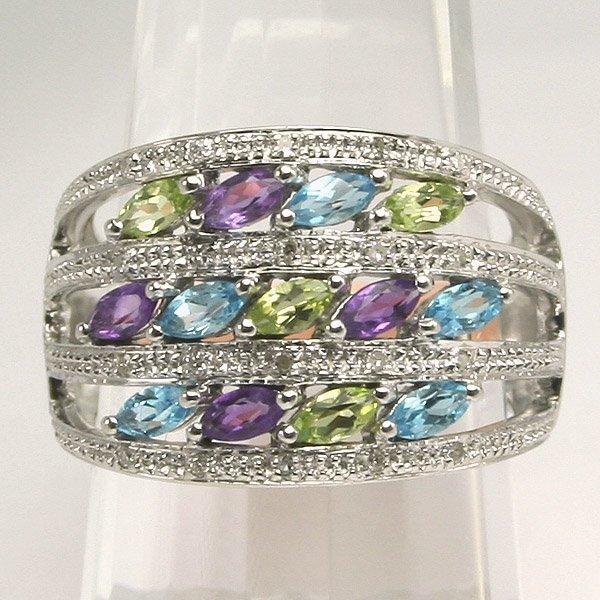 41027: 10KT Multi Gems Stone Ring Sz 7