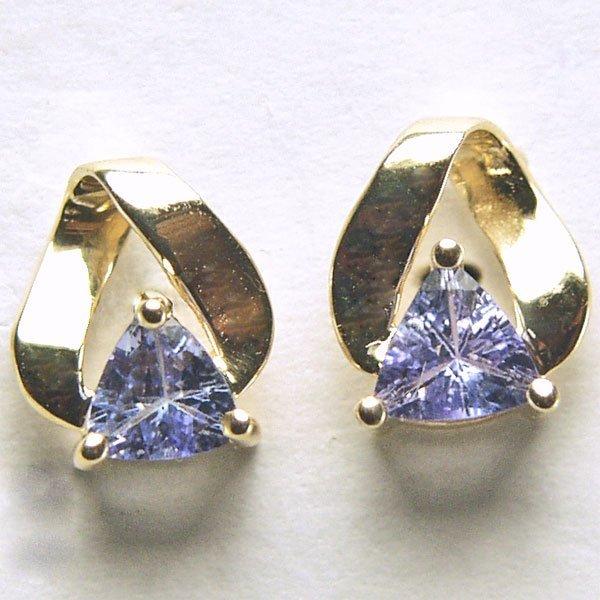 41023: 10KT Trillion Tanzanite Stud Earrings