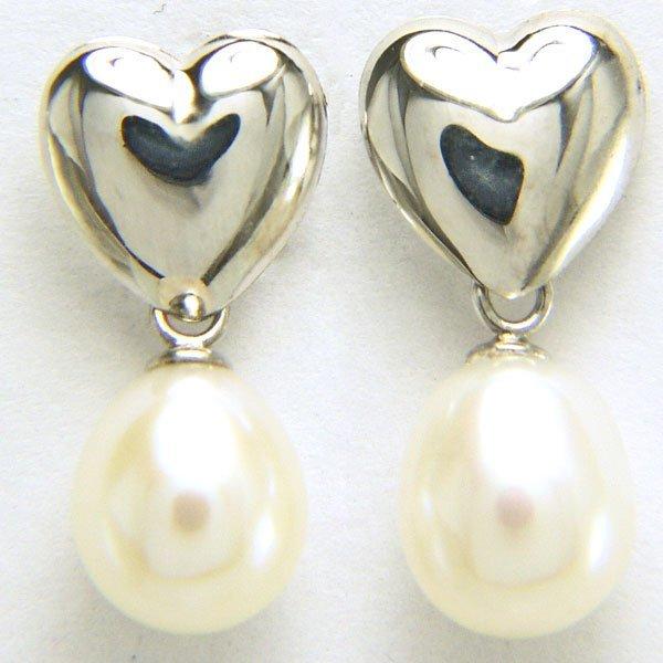41025: 14KT 7mm Pearl Drop Earrings 17x7mm