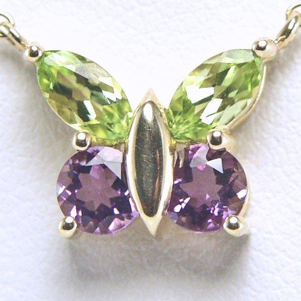 52001: 10KT Amethyst Peridot Butterfly Necklace 17in 11