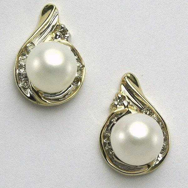11328: 10KT Pearl & Diamond Earrings