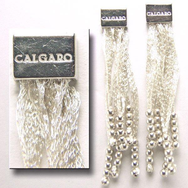22055: SS White Silk Dangle Stud  Earrings 55mm