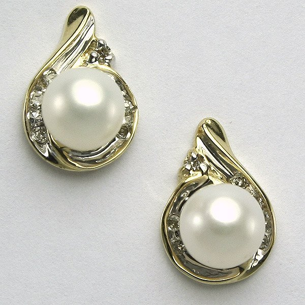 51328: 10KT Pearl & Diamond Earrings