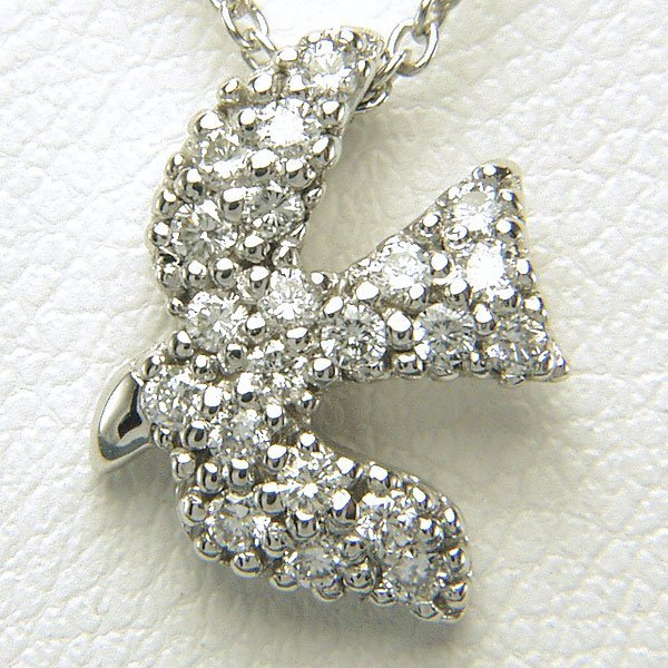 11030: 14KT Dia Bird Pendant w/ 17in Chain 0.17cts 13x1
