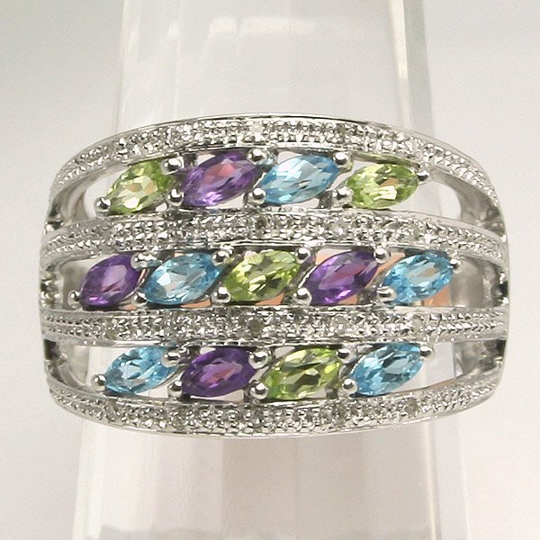 41027: 10KT Multi Gems Stone Ring Sz 7